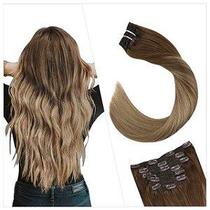 DUPLICADO - Mega Hair Cabelo Humano Tic Tac Preto Liso 50 cm 120g Kit 7 peças
