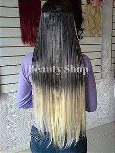 Aplique de Cabelo Orgânico Tic-Tac Ombre Hair Loiro Liso 65 cm 160g