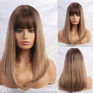 Peruca Média Fibra Orgânica Ombre Hair com Franja