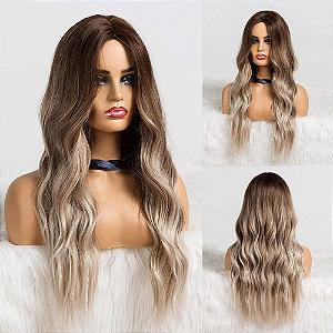 Peruca Média Fibra Orgânica Ombre Hair sem Franja