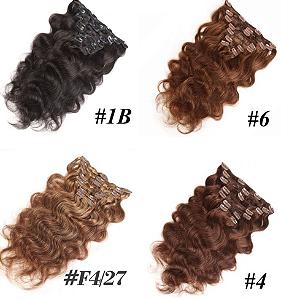 Mega Hair Cabelo Humano Tic-Tac Várias Cores 50cm 120g Kit 7 peças