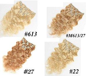 Mega Hair Cabelo Humano Tic Tac Várias Cores 50cm 120g Kit 7 Peças