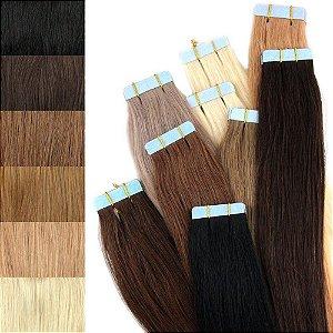 Mega Hair Fita Adesiva Humano Várias Cores 50 cm 20 peças 50g