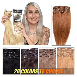 Mega Hair Tic Tac Cabelo Humano kit 7 peças 50 cm 90g