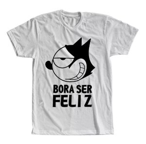 Camiseta Gato Felix Bora Ser Feliz