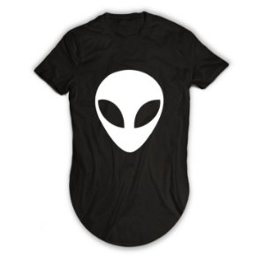 Camiseta Longline Alien Believe In Humans - Et Grande
