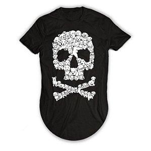 Camiseta Longline Caveira de Cachorrinhos