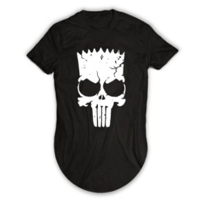 Camiseta Longline Bart Simpsons Caveira Justiceiro