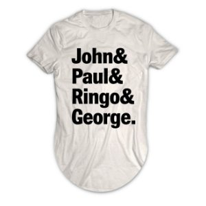 Camiseta Longline The Beatles John, Paul, Ringo e George