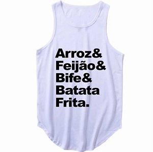 Regata Longline Arroz, Feijão, Bife e Batata Frita