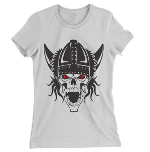 Camiseta Baby Look Caveira Viking