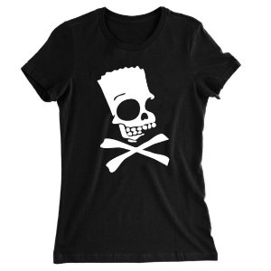 Camiseta Baby Look Bart Simpsons Caveira Perigo