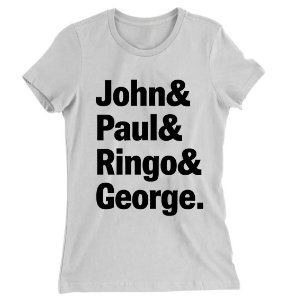 Camiseta Baby Look The Beatles John, Paul, Ringo e George