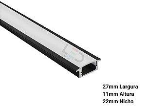 PERFIL LED PRETO EMBUTIR 27x11x2000mm