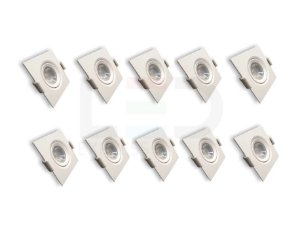 KIT 10 SPOTS LED QUADRADO 3W CTB 6500K BIVOLT