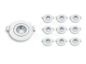 KIT 10 SPOTS LED REDONDO    3W  6500K BIVOLT