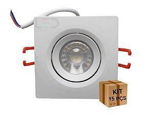 KIT 15 SPOTS LED QUADRADO 3W  6500K BIVOLT