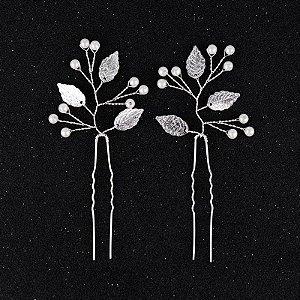 Grampos folhas e pérolas