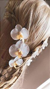 Kit 3 presilhas de orquídeas pequenas em silicone