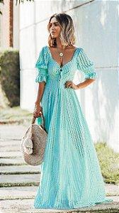 Vestido longo azul tiffany fluido