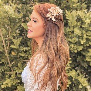 Pente Dourado Flores Folhas e Cristais