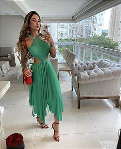 Vestido verde com pontas