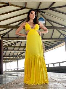 Vestido longo amarelo decotado