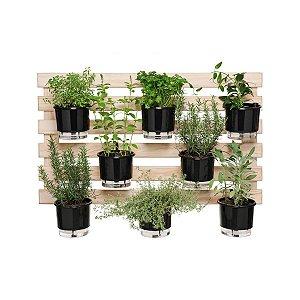Horta Vertical Completa na Treliça com 8 Vasos Pretos -  100 cm X 60 cm