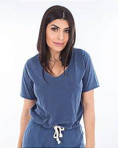 Blusa básica azul estonada