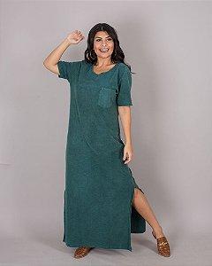 Vestido mangas longo verde