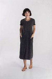 Vestido Midi Clássico preto marmo