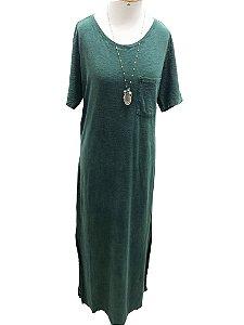 Vestido mangas longo verde marmorizado