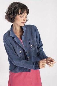 Jaqueta feminina curta azul