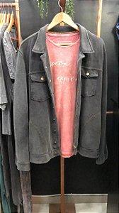 Jaqueta masculina moletom preta marmorizada