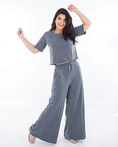 Calça pantalona Milão cinza