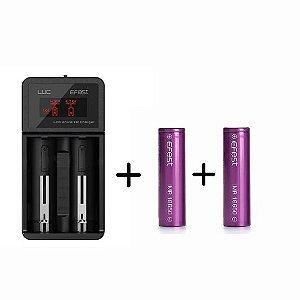 Carregador Efest Luc V2 com com fonte externa + 2 baterias Efest 18650 de 3500 MaH