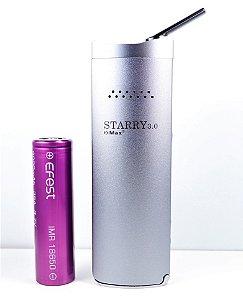 Vaporizador Xmax Starry 3.0, prata, completo com bateria original Sansung + Bateria Extra Efest 3500 mAh