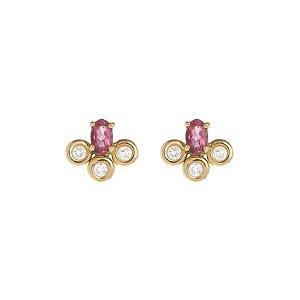 Brinco Turmalina Rosa Ouro 18k