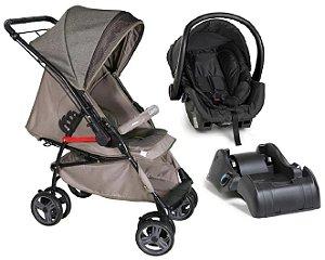 Carrinho de Bebê e Bebê Conforto com Base - Caramelo - Galzerano