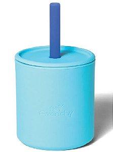 Copo com Canudo e Tampa de Silicone 177ml (+6M) - Azul - Avanchy