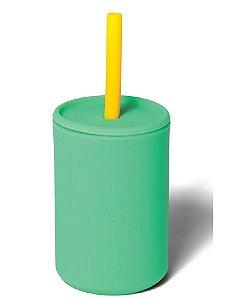 Copo com Canudo e Tampa de Silicone 177ml (+6M) - Verde - Avanchy