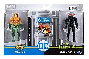 Bonecos DC Comics 10cm (+3 anos) - Aquaman e Arraia Negra - Sunny Brinquedos