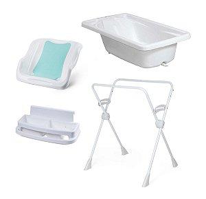 Conjunto de Banheira com Assento, Saboneteira e Suporte (até 20 kg) - Branco - Burigotto