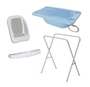 Conjunto de Banheira com Assento, Saboneteira e Suporte (até 20 kg) - Azul - Galzerano