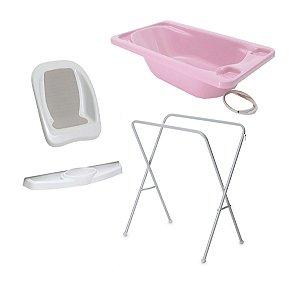 Conjunto de Banheira com Assento, Saboneteira e Suporte (até 20 kg) - Rosa - Galzerano