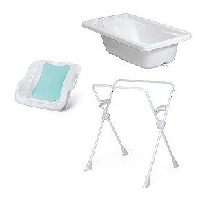 Conjunto de Banheira com Assento e Suporte (até 20 kg) - Branco - Burigotto