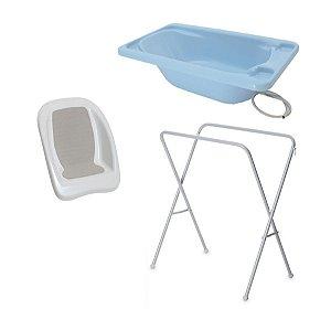 Conjunto de Banheira com Assento e Suporte (até 15 kg) - Azul - Galzerano
