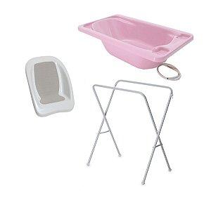 Conjunto de Banheira com Assento e Suporte (até 15 kg) - Rosa - Galzerano