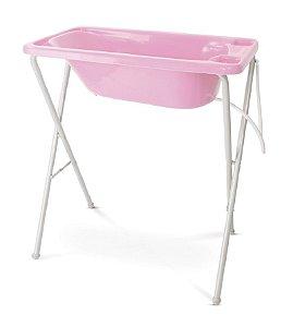 Banheira para Bebê Plástica com Suporte - Galzerano - Rosa