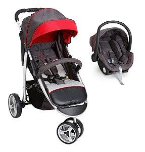 Carrinho de Bebê Apollo com Bebê Conforto - Grafite Vermelho - Galzerano